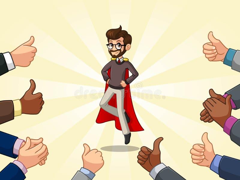 行家与许多赞许和拍的手的超级英雄商人 皇族释放例证