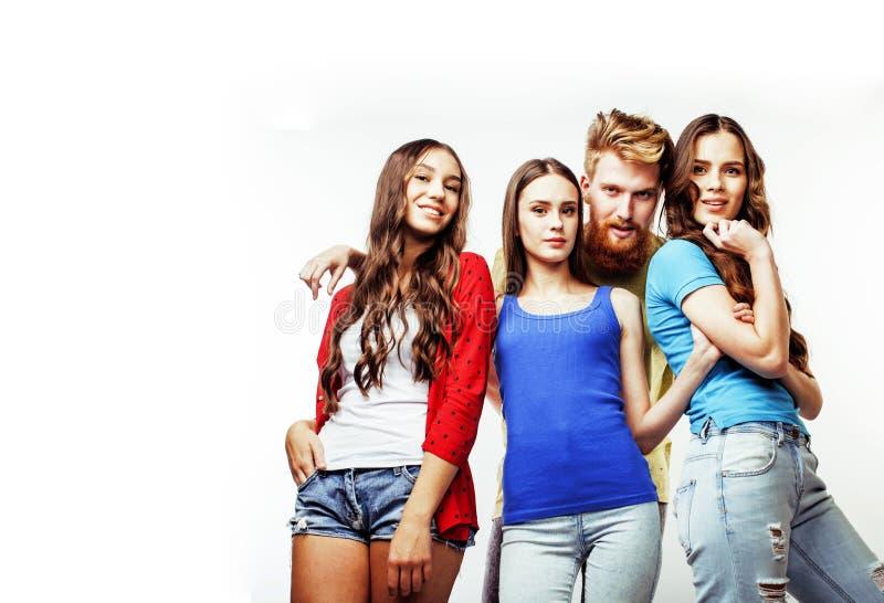 行家人、有胡子的红色头发男孩和女学生公司  免版税库存图片