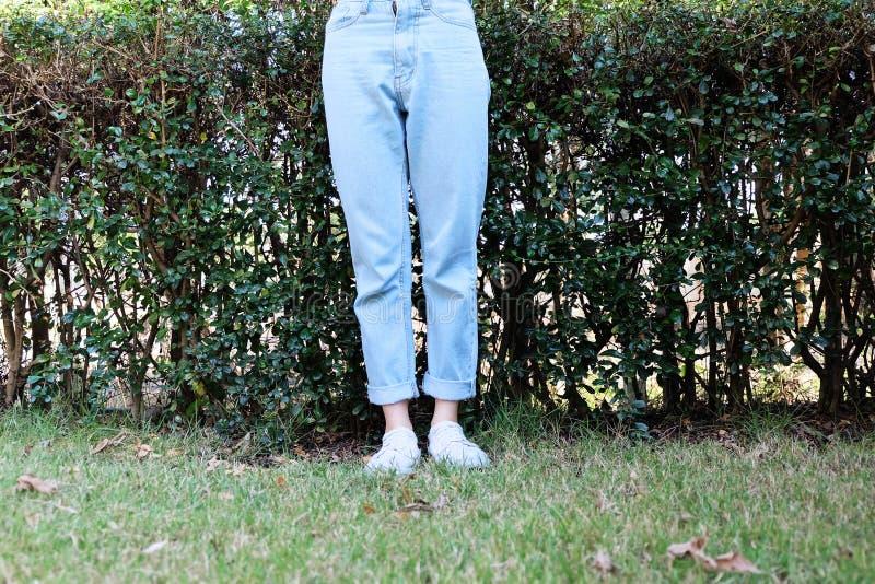 行家偶然白色运动鞋 女性站立的佩带的白色鞋子和蓝色牛仔裤裤子在绿草自然背景 库存照片