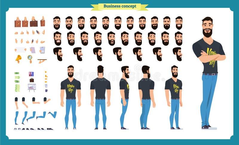 行家创作成套工具 套平的男性漫画人物身体局部,发型,时髦衣物, 库存例证