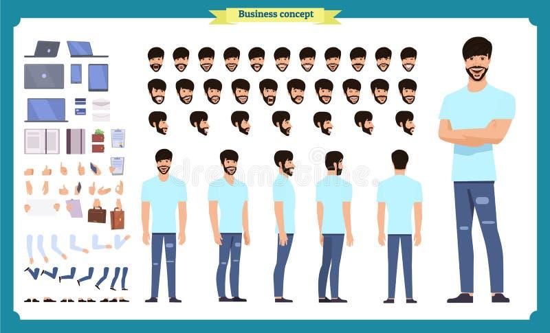 行家创作成套工具 设置平的男性卡通人物身体局部,隔绝在白色背景 r 皇族释放例证