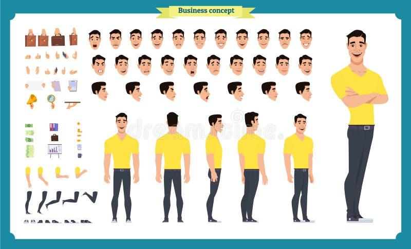 行家创作成套工具 设置平的男性卡通人物身体局部,隔绝在白色背景 r 向量例证
