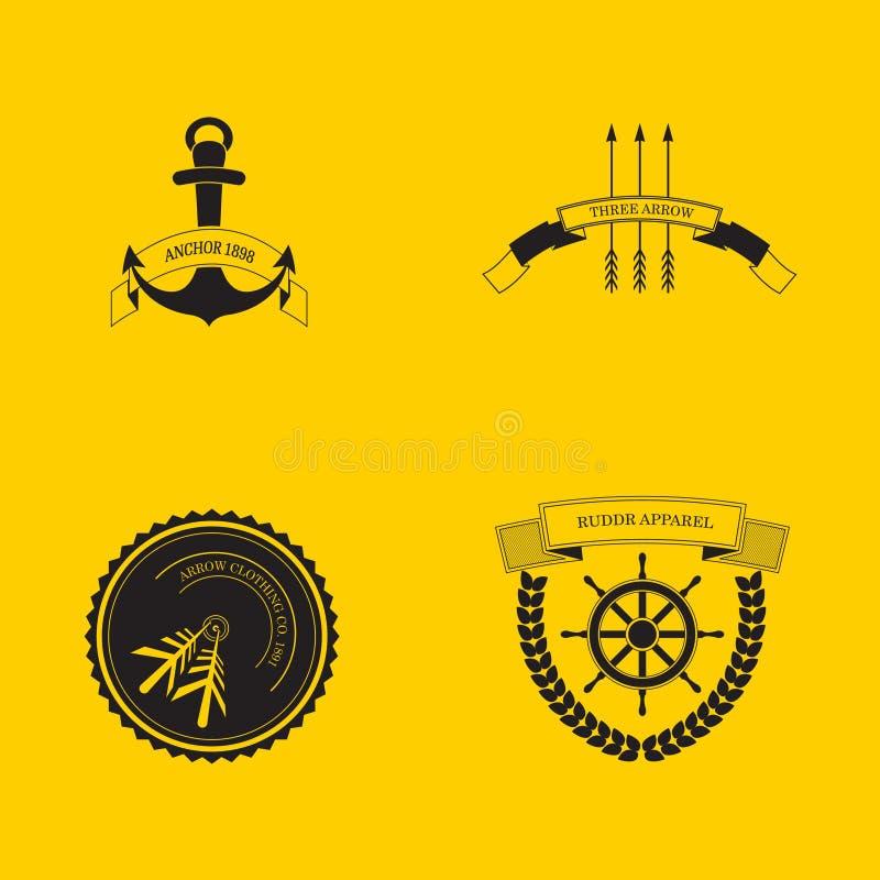 行家商标集合箭头更加粗鲁的船锚 库存例证