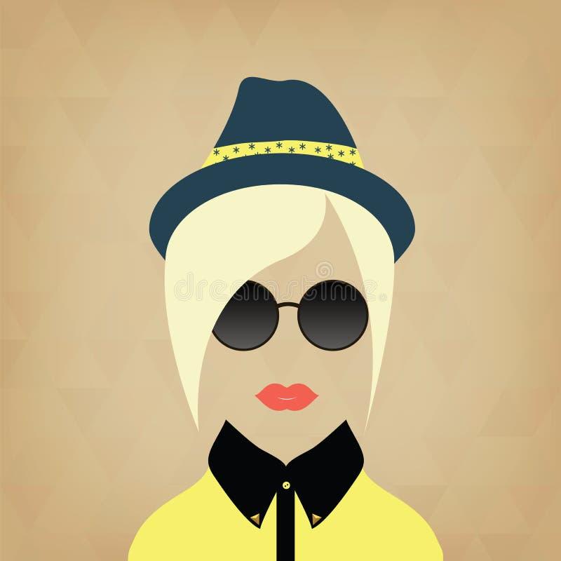 行家夫人 辅助部件帽子,太阳镜,衣领 向量例证