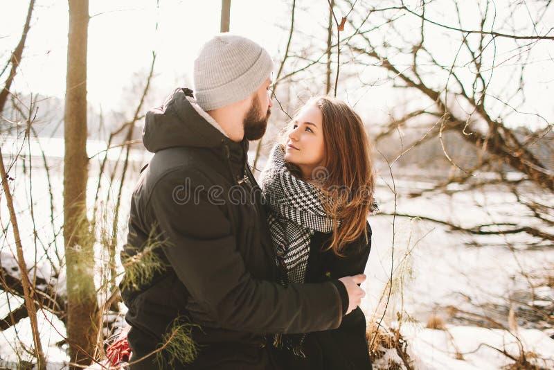 行家夫妇坐在冻湖的树 库存图片