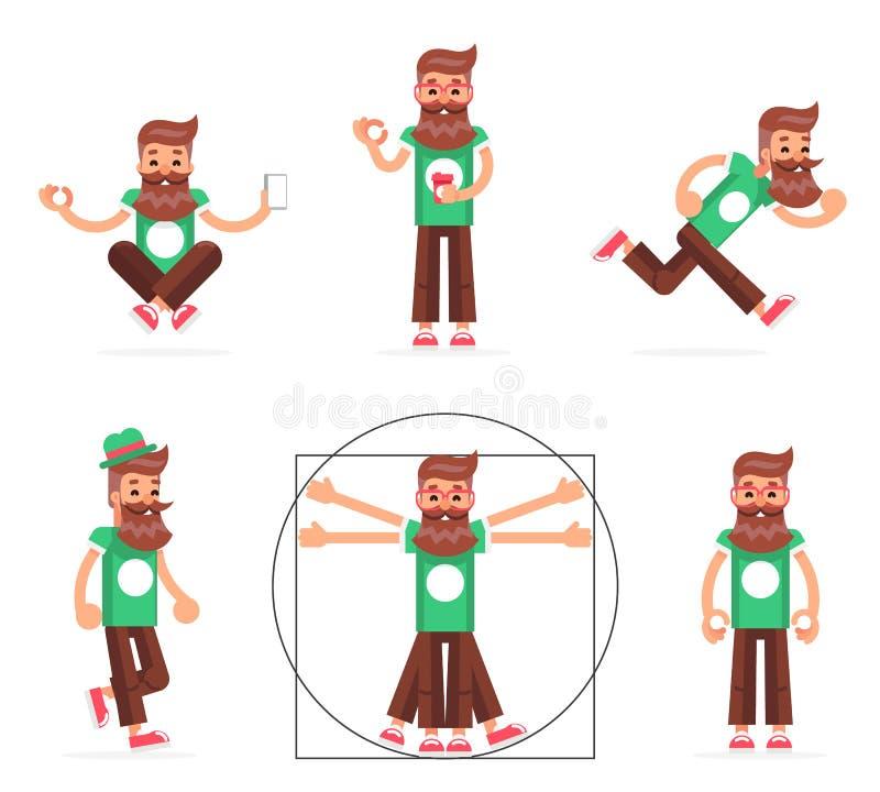 行家怪杰立场奔跑步行思考新的智能手机流动阿普斯技术启示漫画人物象标志 皇族释放例证