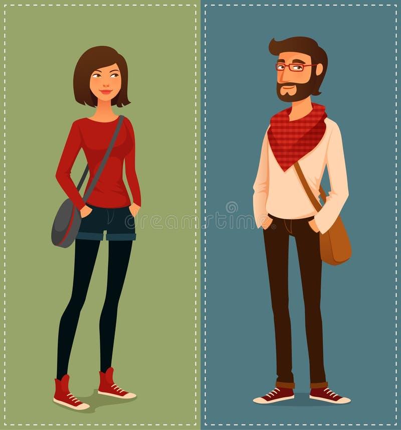 行家时尚衣裳的青年人 向量例证