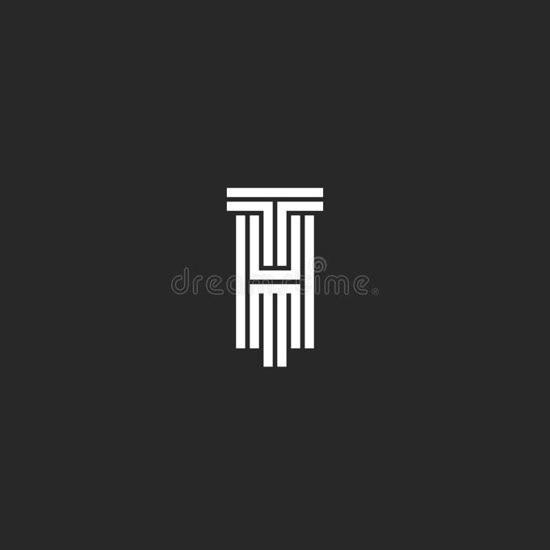 行家最初TH或HT商标原始的婚姻的创造性的象征、信件T和H线艺术黑白样式 皇族释放例证