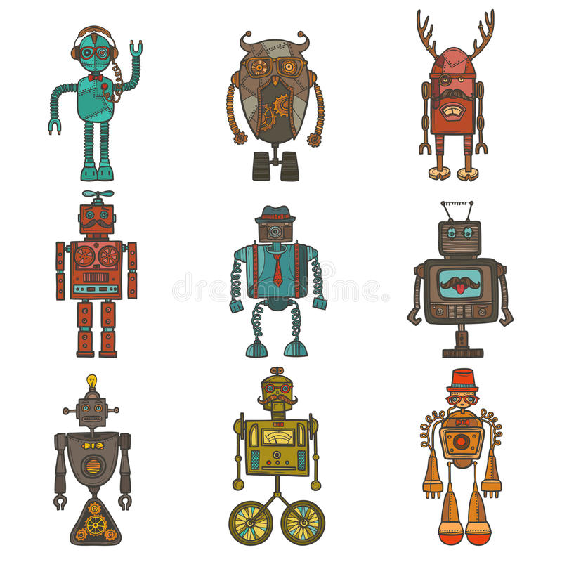 行家机器人集合 皇族释放例证
