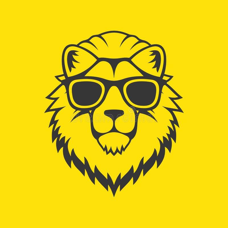 行家样式狮子在玻璃的头商标 向量 库存例证