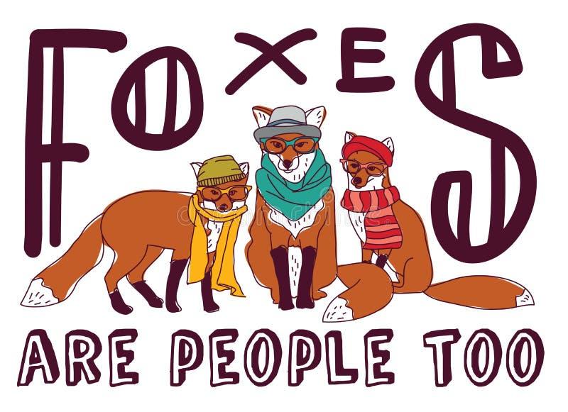 行家狐狸乐趣标志海报动物卡片 向量例证