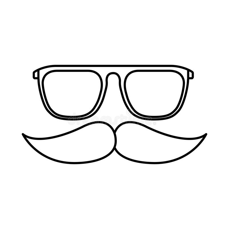 行家玻璃减速火箭髭的时尚 皇族释放例证