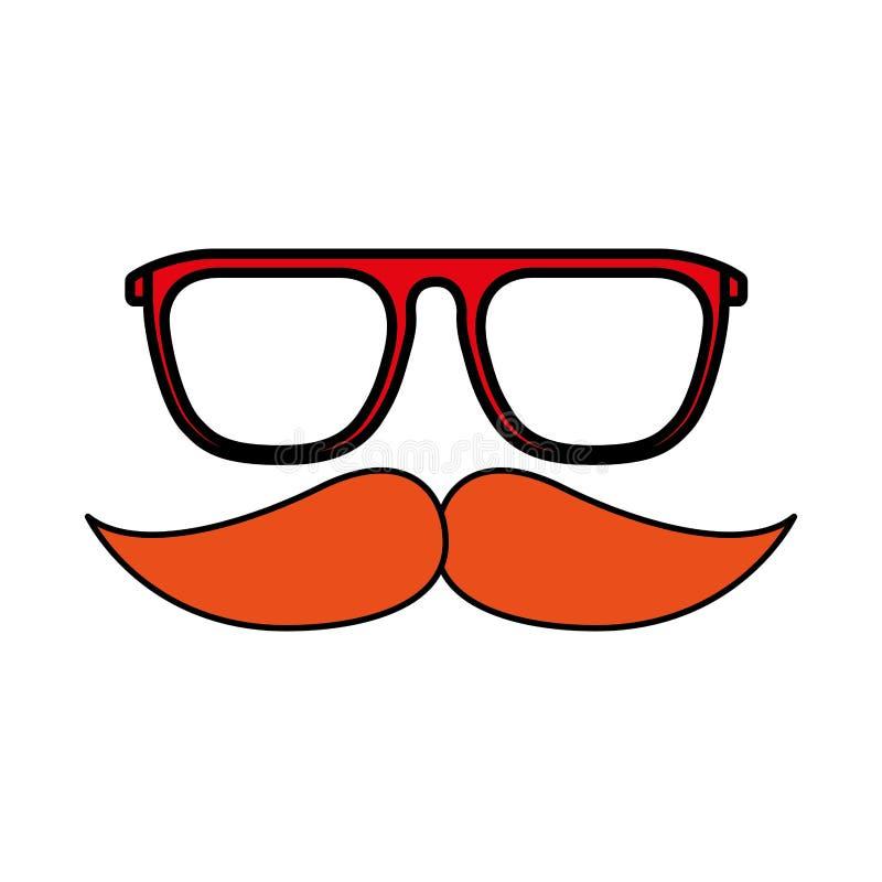 行家玻璃减速火箭髭的时尚 向量例证