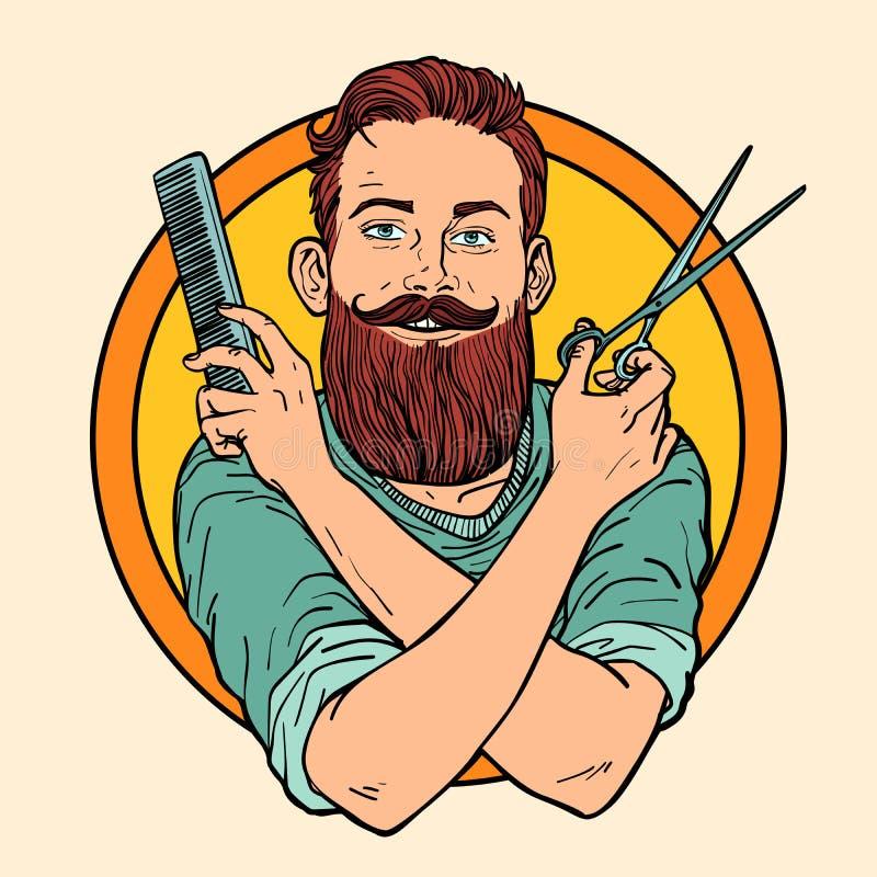 行家理发师,剪刀梳子,理发店 皇族释放例证