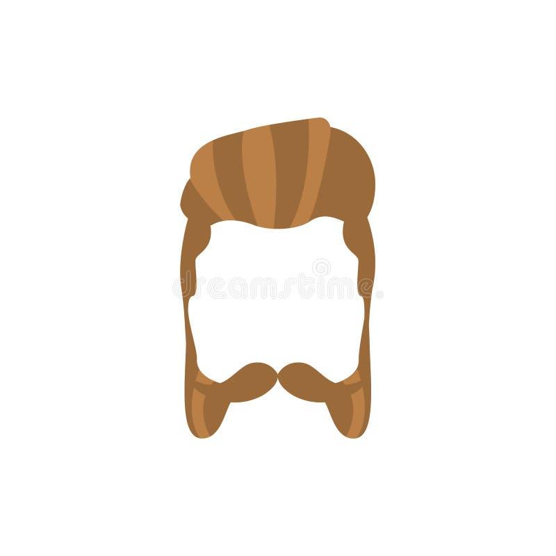 行家男性头发和面部样式与络腮胡 库存例证