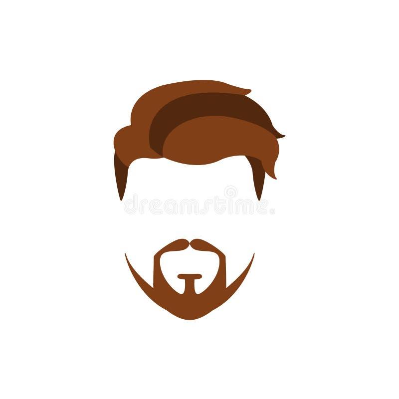 行家男性头发和面部样式与延长的山羊胡子 库存例证