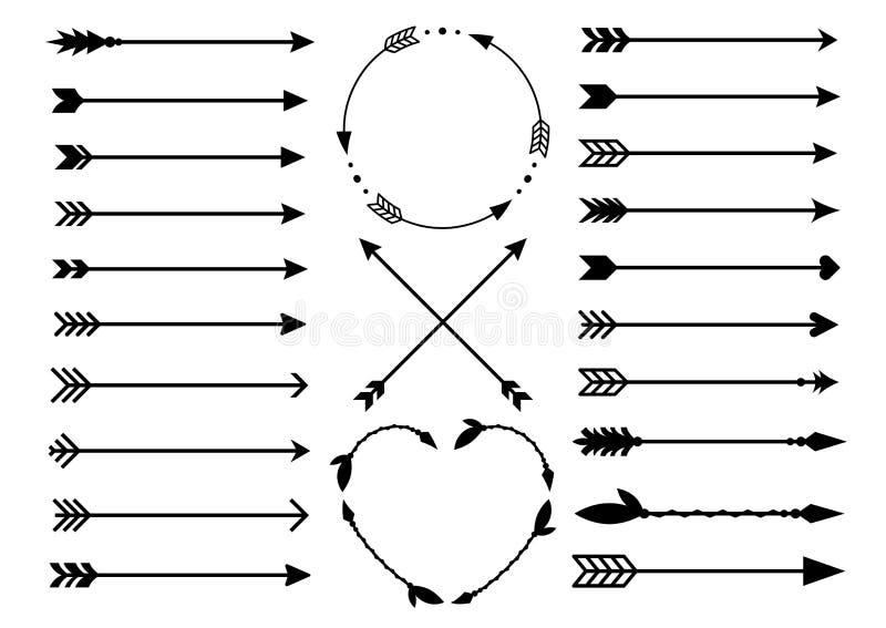 行家箭头 在boho样式的箭头 Criss发怒部族箭头 圈子和心脏组合图案 套印地安样式箭头 土气de 皇族释放例证