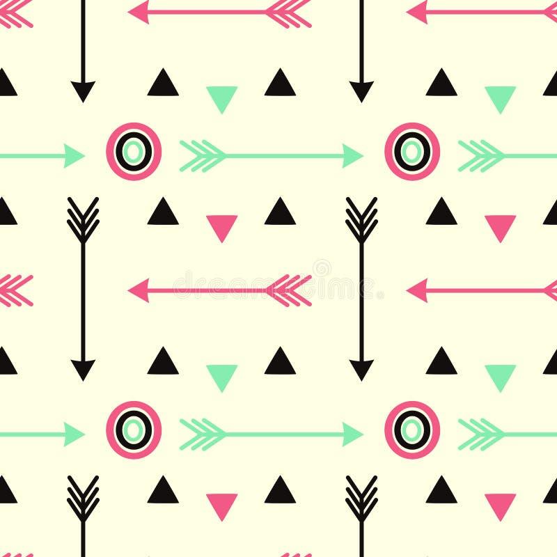 行家箭头变粉红色与圈子无缝的样式背景例证的黑和萤光绿色 向量例证
