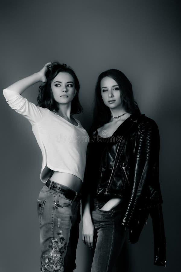 行家衣裳的两个俏丽的女孩,站立 库存图片