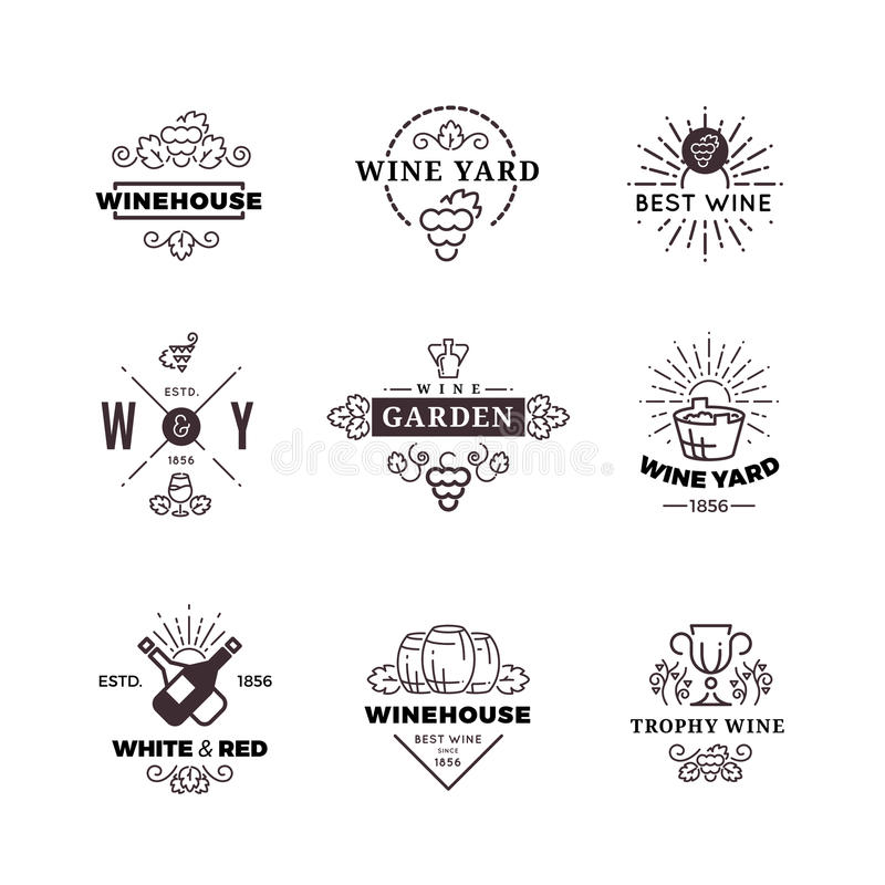 行家酿酒葡萄导航标签,商标,被设置的象征 皇族释放例证
