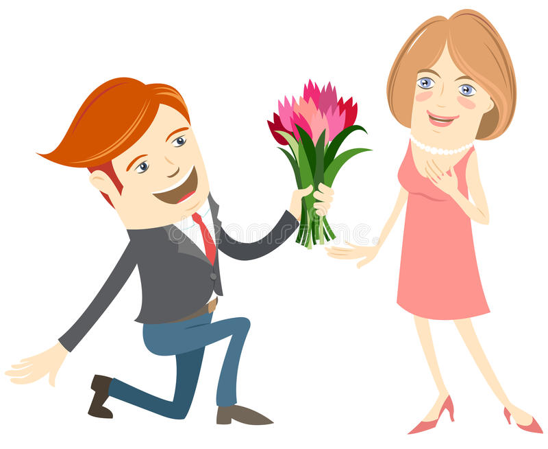 行家滑稽人下跪给开花给微笑的妇女 库存例证