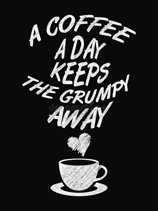 行情咖啡海报 一份咖啡每天保留脾气坏去 皇族释放例证