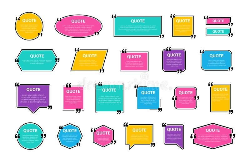 行情框架盒,大集合 短信的行情箱子 色的空白的模板行情文本信息设计箱子引文泡影博克 向量例证