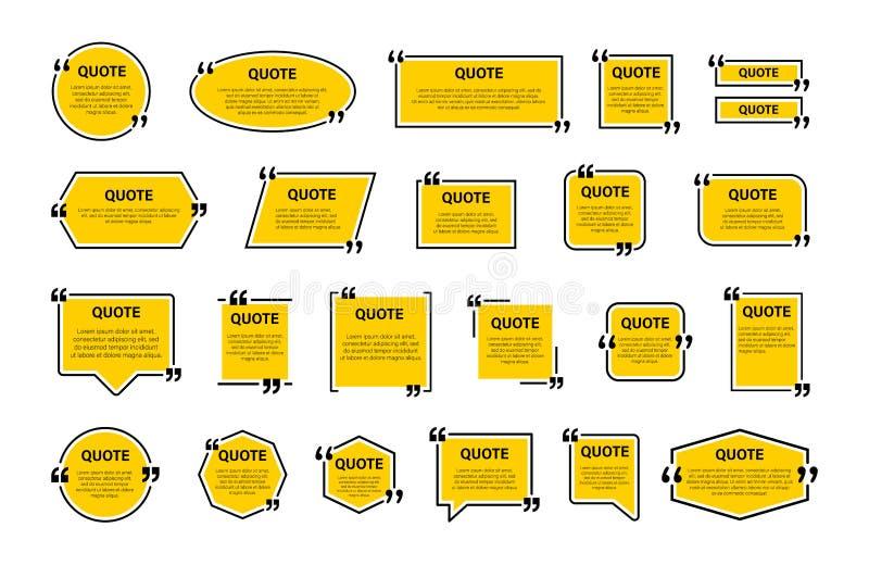 行情框架盒,大集合 短信的行情箱子 黄色空白的模板行情文本信息设计箱子引文泡影博克 向量例证