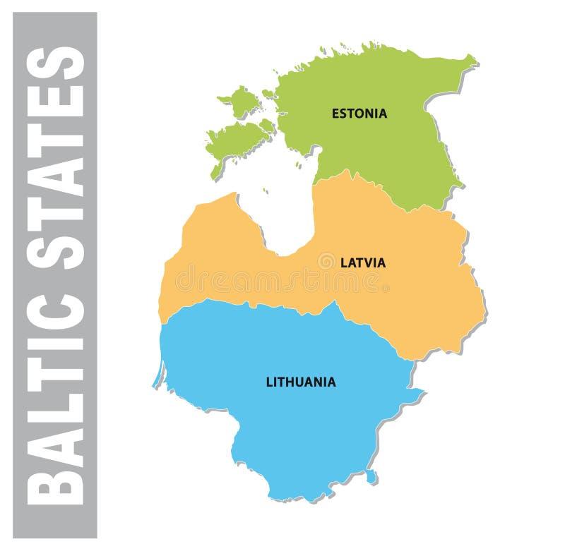 行政五颜六色的波儿地克国家和政治传染媒介地图 皇族释放例证