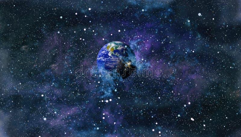 行星、星和星系在显示探险空间的秀丽外层空间 r 向量例证