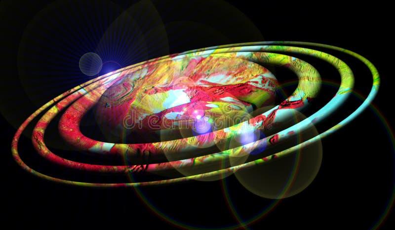 行星、星系、夜和生动的光在黑暗,星系图象 图库摄影