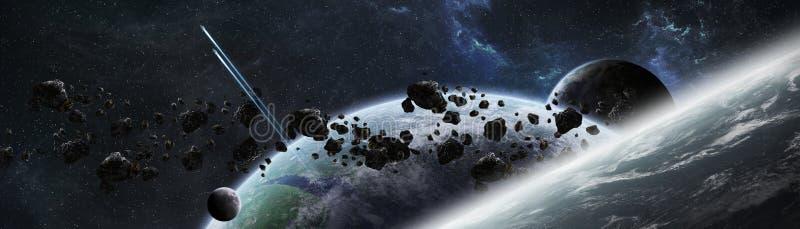 行星全景在回报e的遥远的太阳系3D的 向量例证
