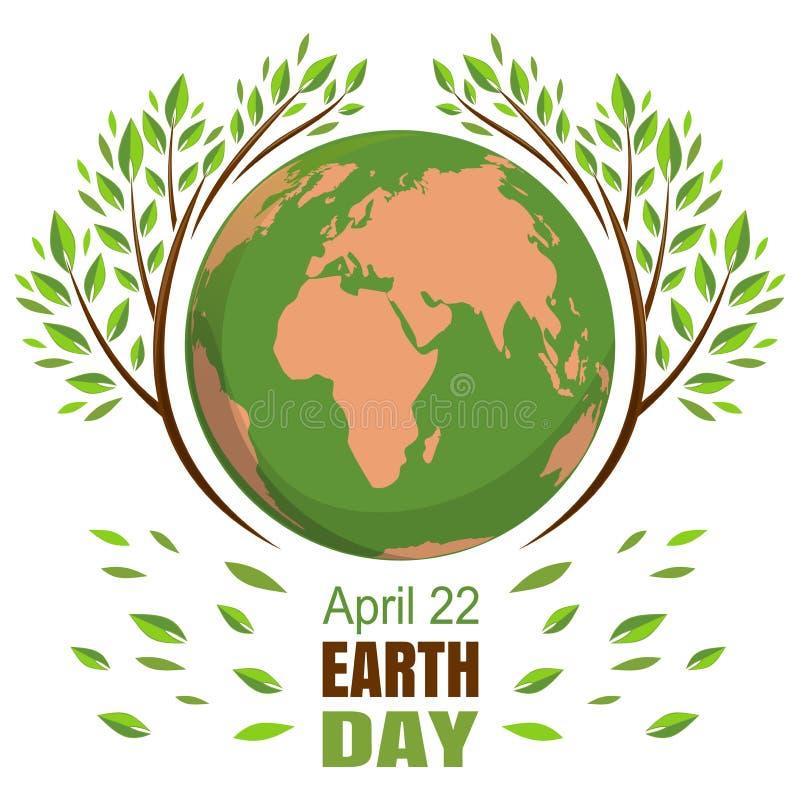 行星和绿色叶子 4月22日 愉快的世界地球日 库存例证