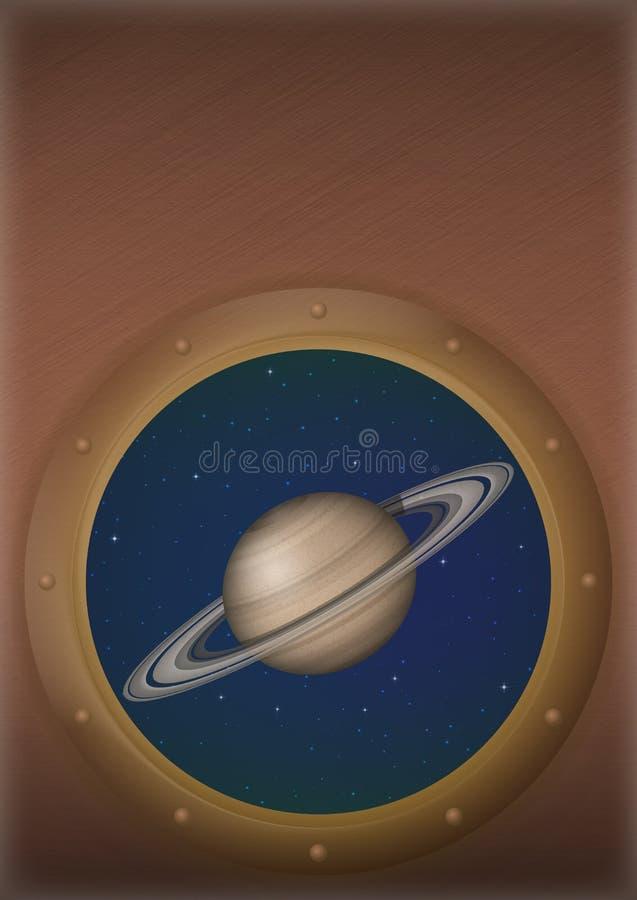 行星土星在空间窗口里 皇族释放例证