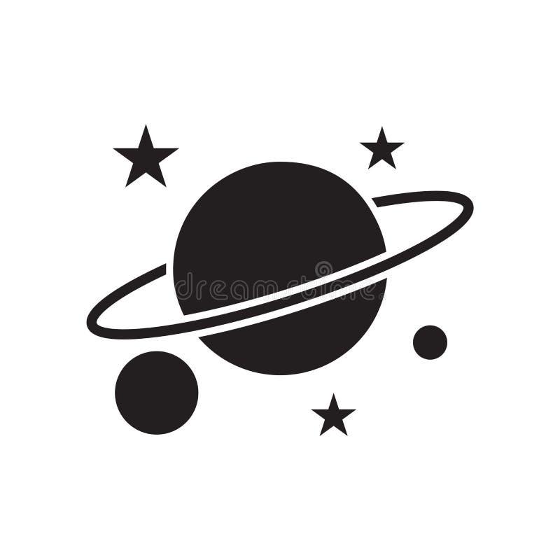 行星土星象在白色后面和标志隔绝的传染媒介标志 向量例证