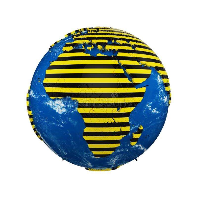 行星在白色背景隔绝的地球地球 黄色和黑镶边警察警告安全丝带 概念危险区域 皇族释放例证