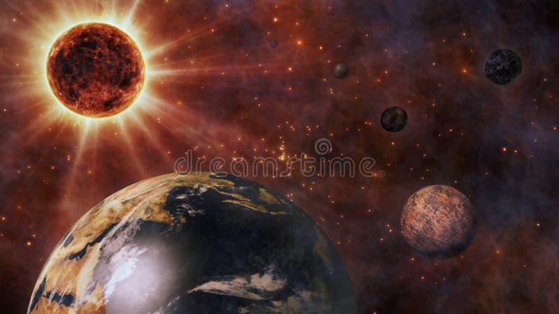 行星地球、太阳、月亮和行星3D翻译 向量例证
