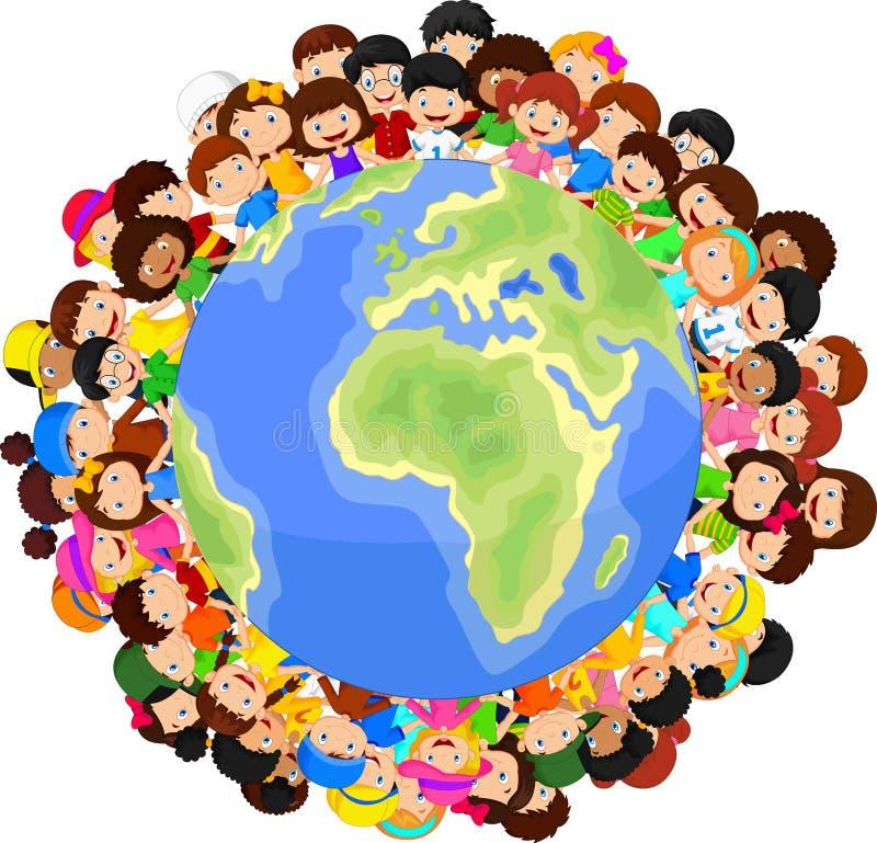 行星地球上的多文化儿童动画片 皇族释放例证