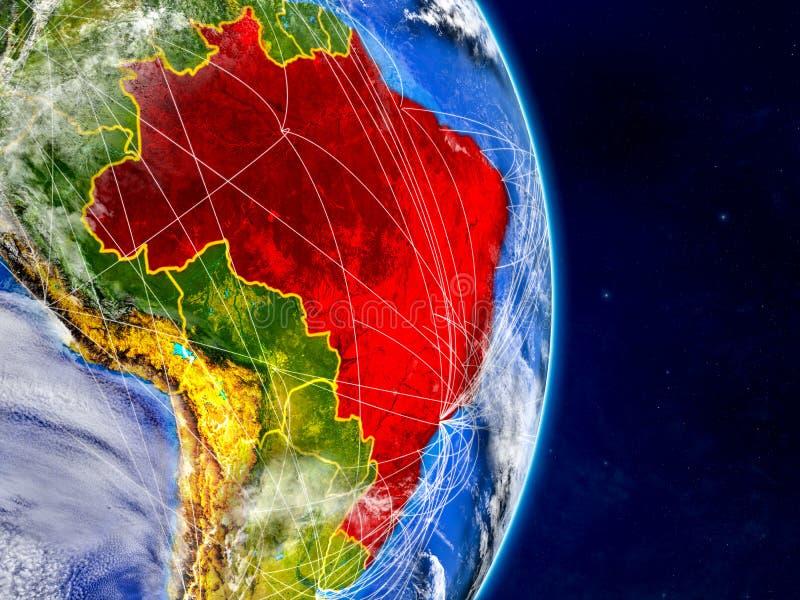 行星地球上的巴西与网络 极端详细的行星表面和云彩 3d例证 这个图象的元素 库存例证