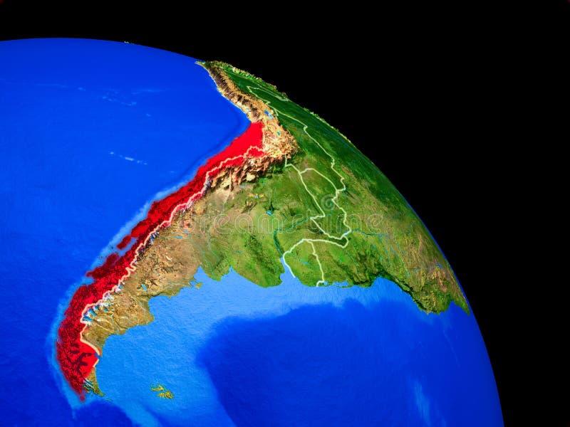 行星地球上的智利 向量例证
