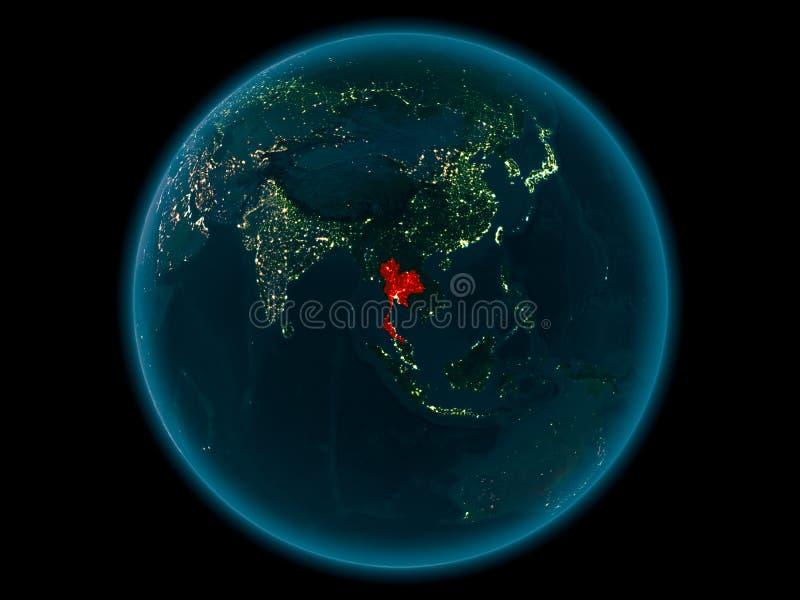 行星地球上的泰国在空间在晚上 向量例证