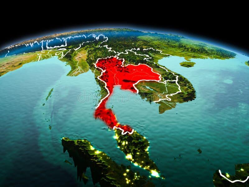 行星地球上的泰国在空间 皇族释放例证