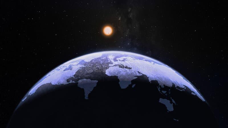行星地球上的蓝色世界地图剪影圆顶semisphere在外层空间 库存图片