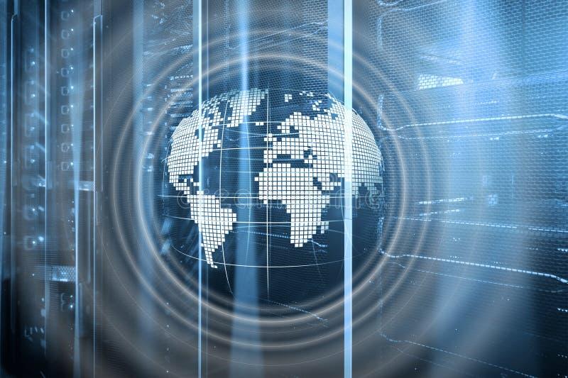 行星地球全息图地球全球性通信全世界企业概念 免版税库存图片