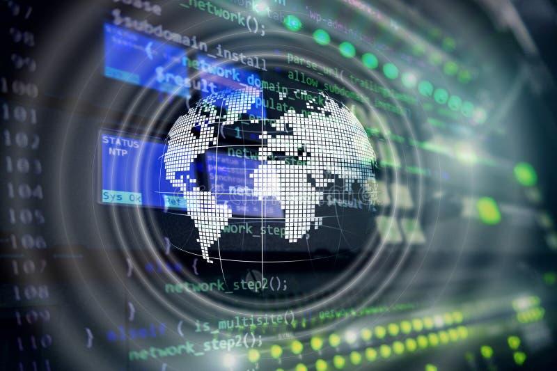 行星地球全息图地球全球性通信全世界企业概念 库存图片