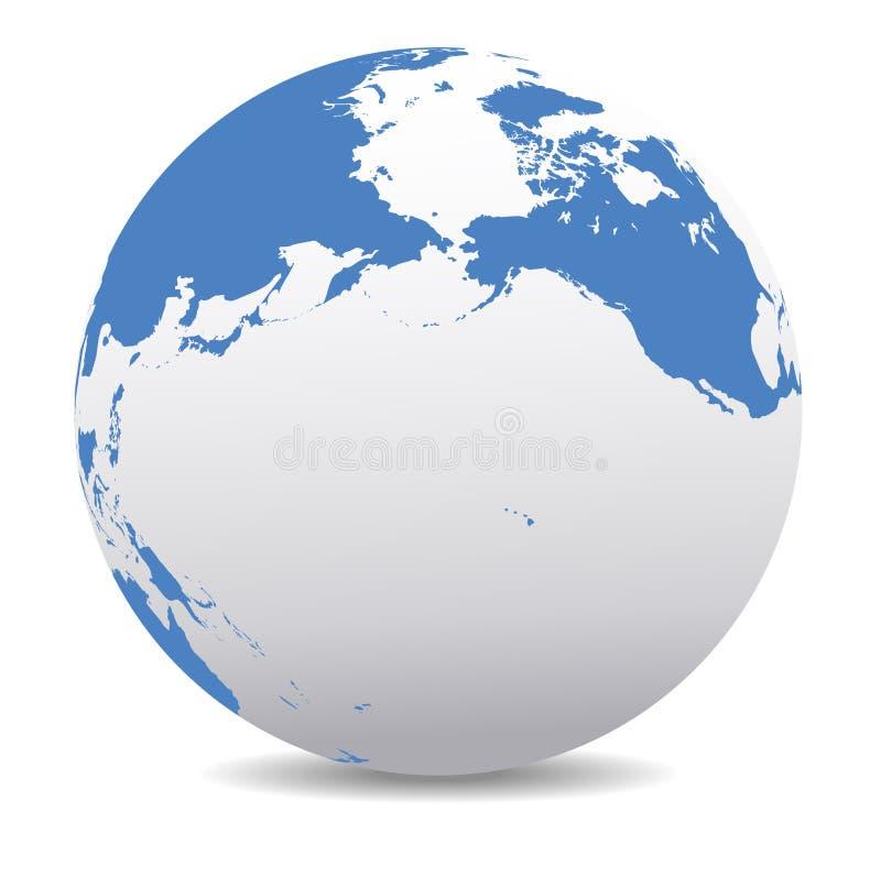 行星地球全球性世界环太平洋北美,加拿大、西伯利亚俄罗斯和夏威夷 皇族释放例证