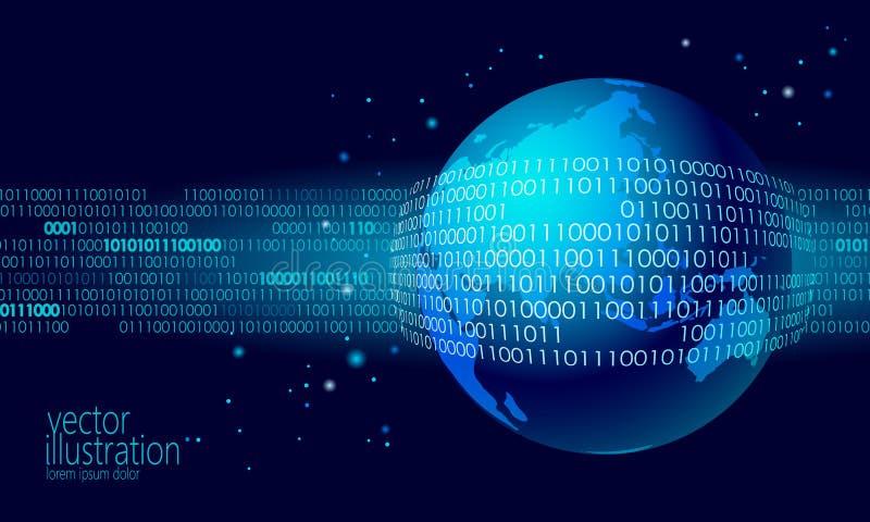 行星地球全球性数据交换的二进制编码 安全付款个人信息网络攻击蓝色发光的事务 向量例证