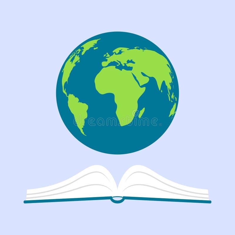行星地球在书上盘旋 皇族释放例证