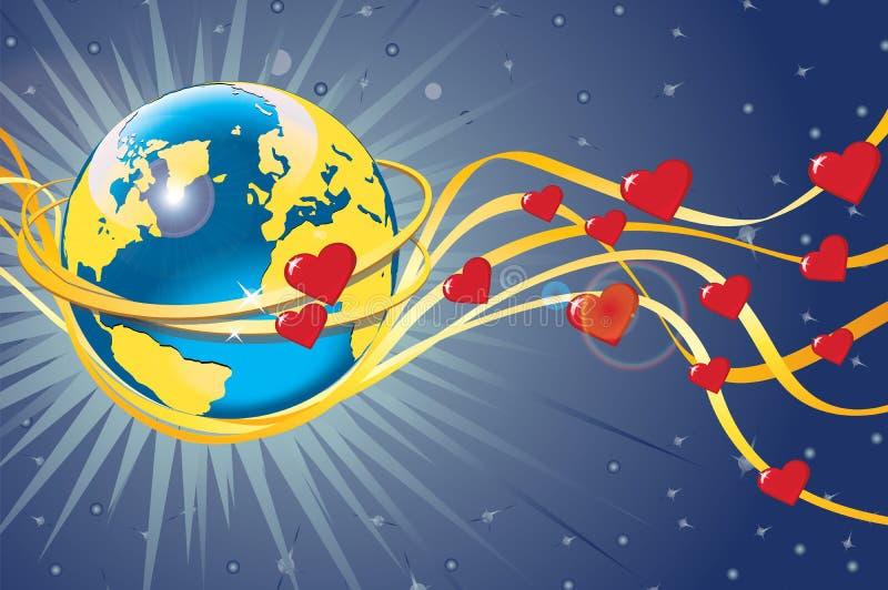 行星地球在婚戒和心脏。看法从 库存例证