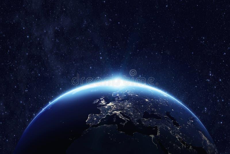 行星地球在晚上 免版税库存图片